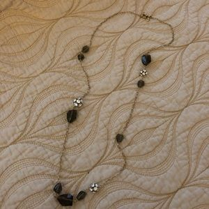 J. Crew Smokey Quartz and Rhinestone Necklace
